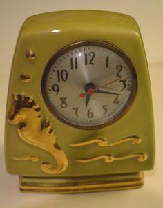 "Vintage Clock kitsch ceramic with gold seahorse. 8""H x 7"" w"