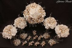 White and Gold Beaded Lily Wedding Flower 17 piece set with White Roses ~ Unique French beaded flowers and beaded sprays