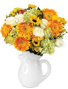 Farmhouse Bouquet - White roses, yellow mini sunflowers, green mini hydrangea, yellow Finesse roses, yellow-orange Gerbera daisies, and yellow Babe spray roses, and yellow micro poms - See more at: http://www.calyxflowers.com/SellGroup/Farmhouse-Bouquet.aspx#sthash.SgJSk3XU.dpuf
