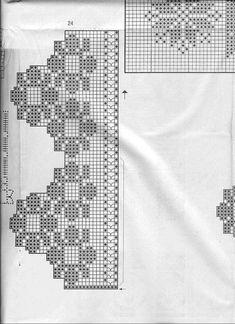 "Photo from album ""Elena Crochet D'Art Hors-serie on Yandex. Filet Crochet, Crochet Borders, Crochet Diagram, Crochet Stitches, Crochet Lace Collar, Crochet Curtains, Crochet Home Decor, Crochet Videos, Crochet Edgings"
