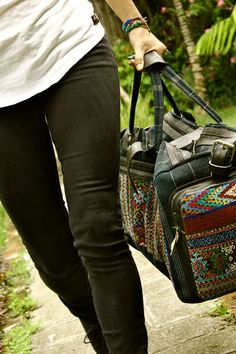 Travel Duffle  Unique embroidery and patterns!  - Mayan - Tribal - Hipster -     Handmade in Guatemala!
