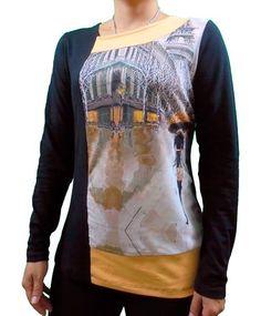 Camiseta cuello asimetrico MOSTAZA