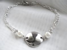 """Silver dainty """"Sand Dollar"""" pearl chain bracelet with lobster clasp - pinned by pin4etsy.com"""