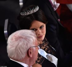Princess Sofia in her crowning glory, a diamond and emerald tiara which has great sentiment as she had it created for her wedding earlier this year