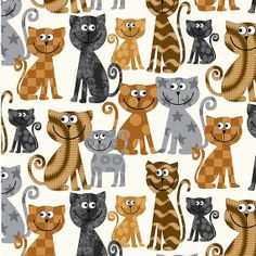 Patterned Cats flannel fabric  neutrals black by fabricfrantic, $7.25