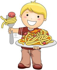 Boy with Spaghetti  Stock Photo
