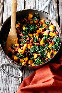 Butternut Squash Kale and Pancetta Hash