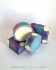 """""""Dots"""" - Cold process soap. Rimmed soap."""