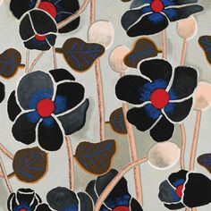 Wayne Pate + Studio Four NYC Poppies Noir Wallpaper