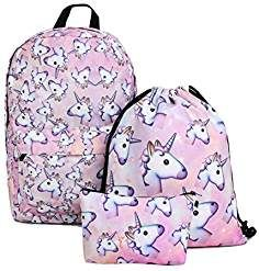 Deanfun Unicorn Backpack for Girls 3pcs/set Print Rainbow Unicorn Backpack School College Bag for Teens Girls Students
