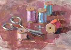 sew, sew! by margaret mcwethy Oil ~ 6 x 8
