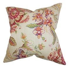 A perfect addition to your master suite or sofa, this chic cotton pillow showcases a charming floral motif and down fill. Made in Boston, MA.