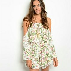 Radical Soul Romper Bohemian flowered romper with shoulders out. Perfect with knee boots! Tops