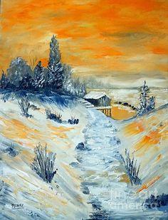 Winter Sunset by Halina Plewak