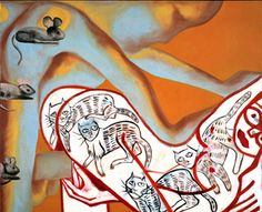 'Love in Orange and Red' (2004) by Italian artist Francesco Clemente (b.1952). Oil on canvas