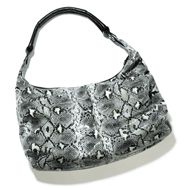 Killer Style Bag- Great for work or a night out! Our black-and-white python-printed hobo is one fierce accessory, whether you pair it with a chic work look or jeans and a tee. Ruched sides make it extra-fabulous. 3 interior pockets: 2 slip pockets at front, 1 zippered pocket at back. Snakeskin print with faux leather trim. www.mymarkstore.com/maura