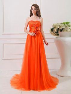 Strapless Court Train Sleeveless A Line Evening Prom Dress Oho0038