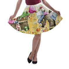 Yoshi's island pre-sale skater skirt orders depicting one of several different hand painted images. The artwork was originally hand painted in either watercolor or acrylic by this shops two operating artists. Yoshi, Skater Skirt, Shops, Hand Painted, Watercolor, Artists, Island, Skirts, Artwork