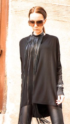 NEW Collection SS/15 Black Extravagant Fringe Long Leather Necklace   by AAKASHA A16192