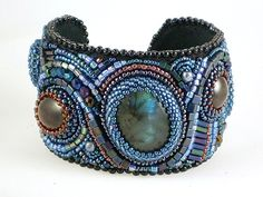 Sue Manchester beads | ... Beads, Statement Bead Embroidered Art Cuff, FREE SHIPPING. $395.00