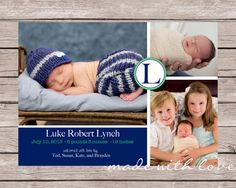 A simple and sweet photo birth announcement for by MadeWithLoveJJ, $12.50- PRINTING AVAILABLE