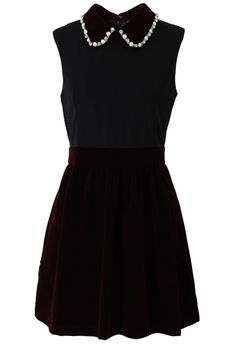 Embellished Collar Velvet Skater Dress. Add pretty sheer blouse underneath and black tights and heels. And Maybe diamond earrings :) perfect for holidays!
