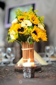 Sunflowers are great for a summer/fall wedding! Floral Wedding, Fall Wedding, Wedding Flowers, Wedding Ideas, Wedding Dresses, Wedding Stuff, Flower Centerpieces, Wedding Centerpieces, Centrepieces