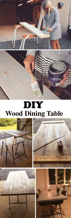 Build a rustic dining table from wood planks. Follow the easy step-by-step guide here.