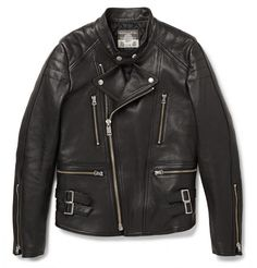 BlackmeansQuilted Leather Biker Jacket
