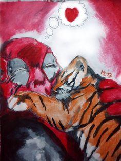 Deadpool Lapicera bic y pintura acrílica Tamaño A4 (21x29cm)