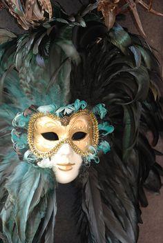 Feather-mane Carnevale mask