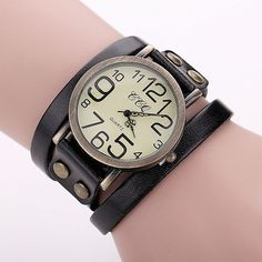 Antique Leather Bracelet Watch Vintage Women Wrist Watch Fashion Unisex Quartz Watch
