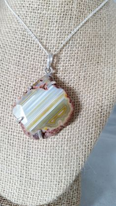 Sterling Silver and Agate Prong-Set  Pendant by DKHandcraftedJewelry on Etsy