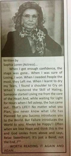 Wise wordsmith...Sophia Loren...on Life...