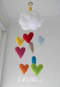 como se le llama al conjunto de nube sol arcoiris luna estrellas planetas - Buscar con Google Crochet Baby, Knit Crochet, Diy And Crafts, Arts And Crafts, Hanging Mobile, Snowflakes, Children, Kids, New Baby Products