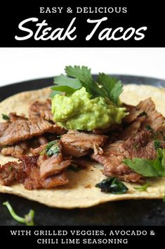 Healthy Family Dinners, Weeknight Dinners, Flank Steak Tacos, Easy Beef And Broccoli, Avocado Crema, Chili Recipes, Meat Recipes, Catering Recipes, Mexican Recipes