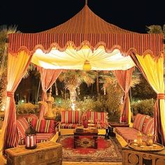 Moroccan style outdoor canopy and seating