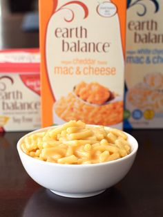 Earth Balance Vegan Mac and Cheese! Dairy-free, soy-free, 2 flavors (cheddar & white cheddar), and with instructions just like Kraft - so easy! And surprisingly creamy, cheesy, and tasty, too.