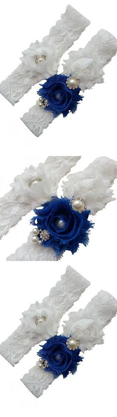 Miranda's Bridal Women's Lace Floral Bridal Garters Wedding Garters with Rhinestone and Pearl Royal Blue M