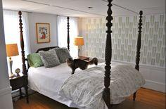 PURRR-TY! Kirsten's Acacia stenciled bedroom is super pretty, don't YOU agree?    Love it? Get it! http://www.cuttingedgestencils.com/leaf_stencil.html  #stencils #cuttingedgestencils #stenciling #stencilpatterns #diy #homedecorating #interiordesign