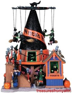 Lemax Spooky Town WITCH'S HAT #84744 NRFB Halloween Animated, Sound Carnival