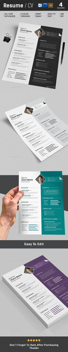 Free Single Page Resume Template PSD RESUME CV LEBENSLAUF - single page resume template