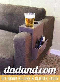 DIY Couch Cup Holder and Remote Caddy | https://dadand.com/diy-couch-cup-holder-remote-caddy/