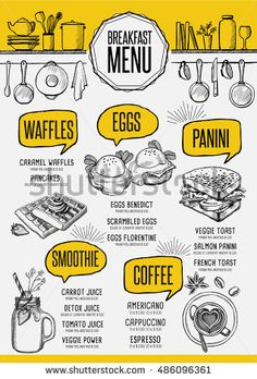 Vintage creative dinner flyer with hand-drawn graphic. Menu Restaurant, Seafood Menu, Bakery Menu, Restaurant Identity, Cafe Menu Design, Food Menu Design, Breakfast Restaurants, Breakfast Menu, Menu Resto