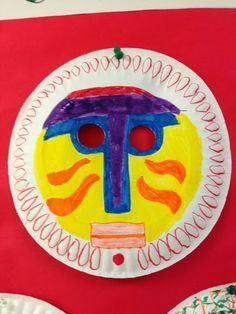 African Masks from paper plate - around the world theme