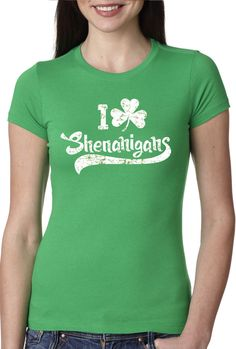 Womens I Clover Shenanigans T-Shirt Funny St Patricks Day Shirt For Women #CrazyDogTshirts #GraphicTee