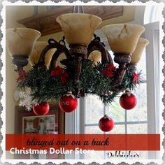 Holiday decorating on a budget - Debbiedoo's. Dining Room Decorating Ideas On A Budget Dollar Store Christmas, Diy Christmas Tree, Dollar Store Crafts, Xmas Tree, Dollar Stores, Christmas Lights, Christmas Wreaths, Christmas Decorations, Christmas Ornaments