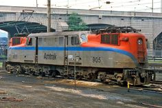 Amtrak Railroad, GE Electric locomotive in Harrisburg, USA