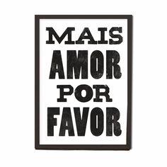Cuadro Mais Amor Por Favor 25x34 Cm Decoración Brasil Living - $ 374,00 en…