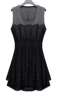Black Sleeveless Lace Beading Pleated Chiffon Short Dress